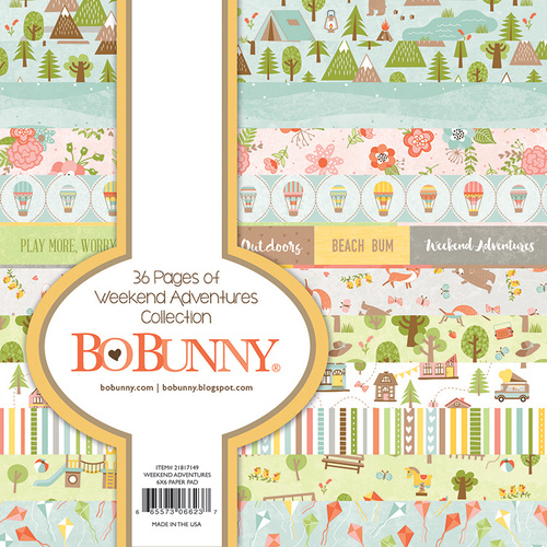 Bo Bunny 6x6 Inch Paper Pad WEEKEND ADVENTURE