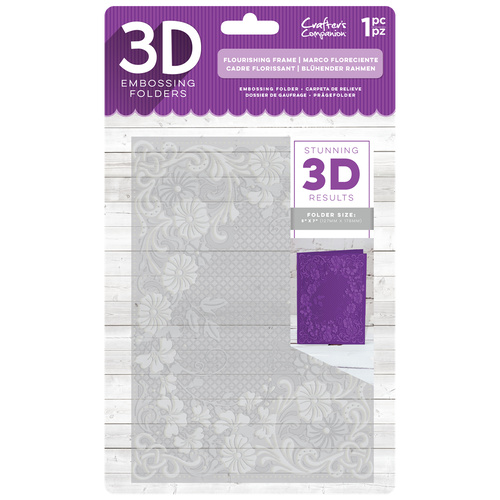 Crafter's Companion 3D Embossing Folder 5X7 Flourishing Frame
