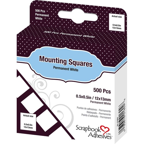 3L Scrapbook Adhesives Permanent Mounting Squares 500/Pkg White