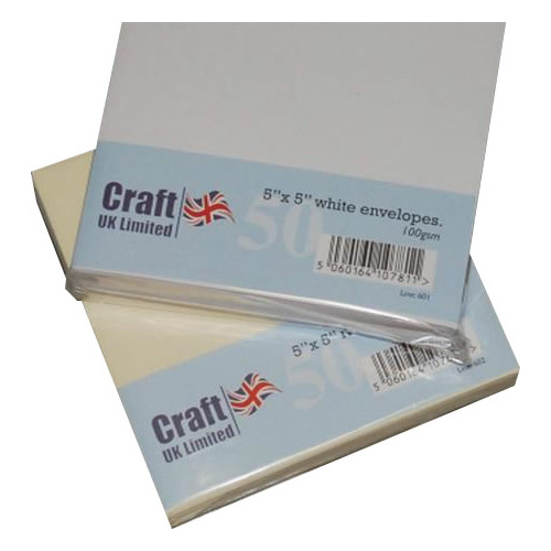 Craft UK Limited 50 White 5x5 Envelopes