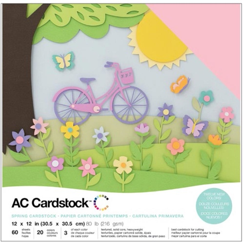 American Crafts 12x12 CARDSTOCK 60 Sheets 216gsm Spring