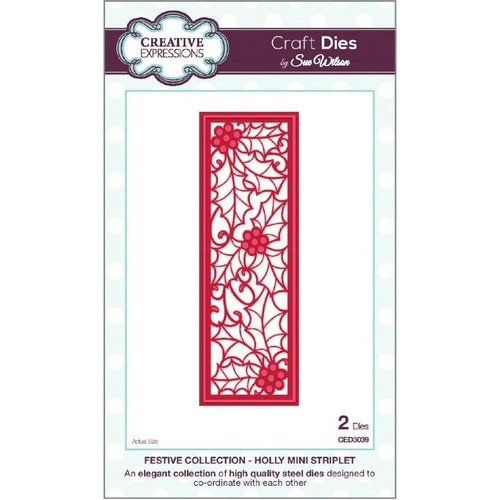 Sue Wilson Dies Festive Collection Holly Mini Striplet CED3039