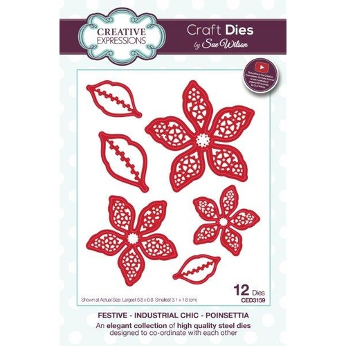 Sue Wilson Dies Festive Industrial Chic Collection Poinsettia CED3159