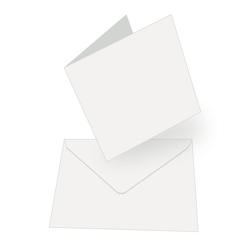 50 White Square Cards 240gsm and Envelopes 13.5cm x 13.5cm (5.3 x 5.3)