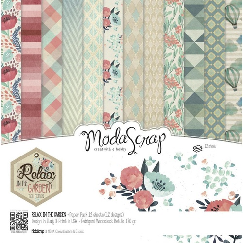 Elizabeth Craft Designs Modascrap 6x6 Inch Paper Pad Relax In The Garden