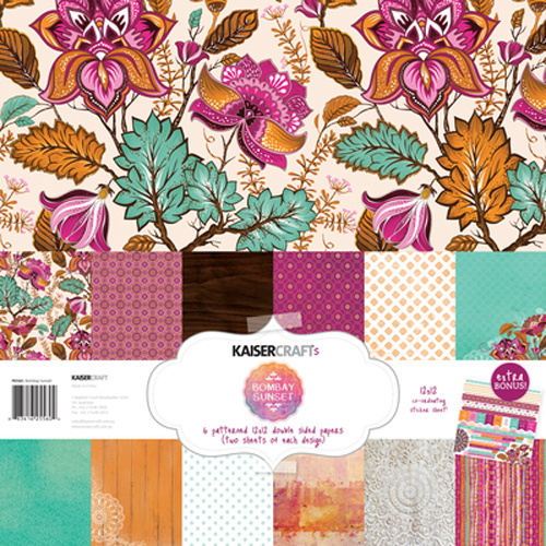 Kaisercraft 12x12 Paper Pack Bombay Sunset with BONUS Stickers